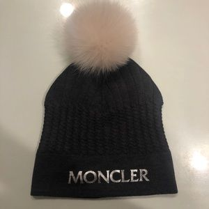 Women's Moncler grey beanie with real fur